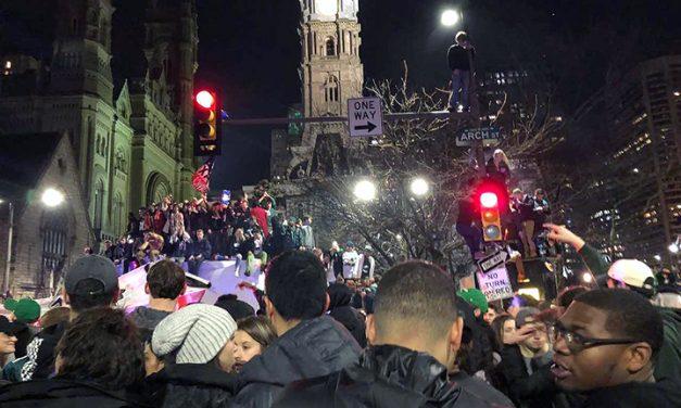 Fans celebrate after Philadelphia Eagles' Super Bowl win