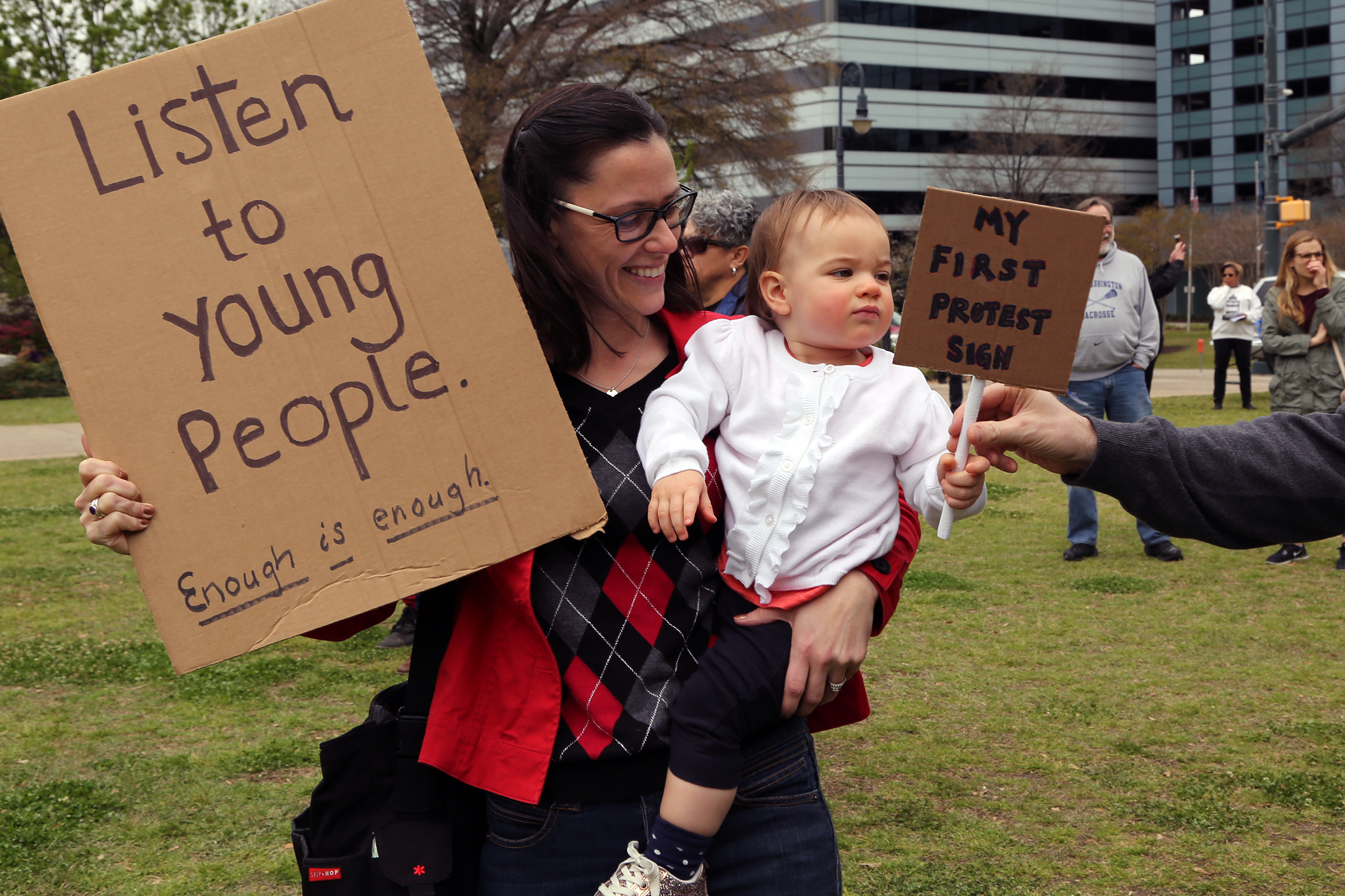 Strollers and slings were a common sight at the march. Parents brought along babies and toddlers, with signs to match.
