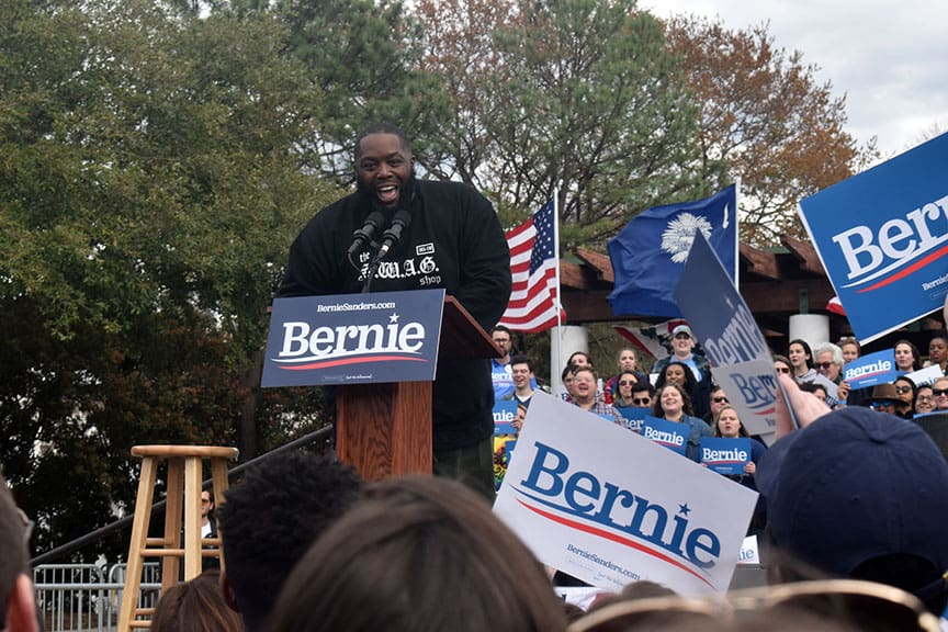 Rapper Killer Mike speaks at Finley park for Sen. Bernie Sanders during his campaign ahead of South Carolina democratic primary.