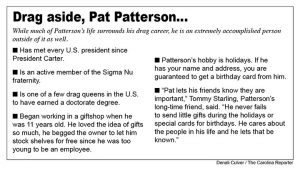 Graphic with details about Pat Patterson's life outside of drag.