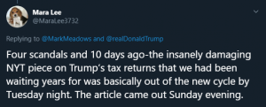 The most shared tweet in South Carolina 10 days after the New York Times article revealed Trump's taxes.