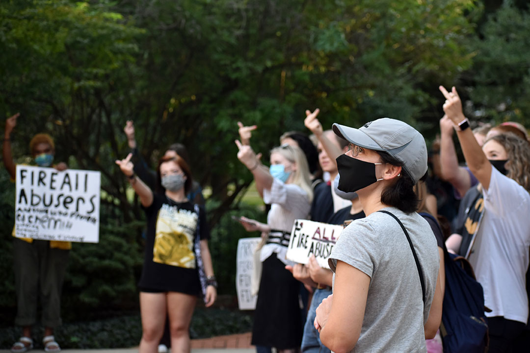 """UofSC students demand action at """"fire all abusers"""" protest"""